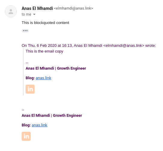 gmail blockquotes