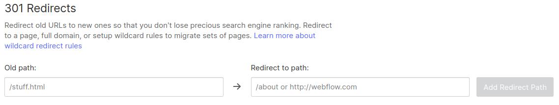 Webflow redirect