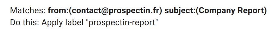 filter label prospectin gmail