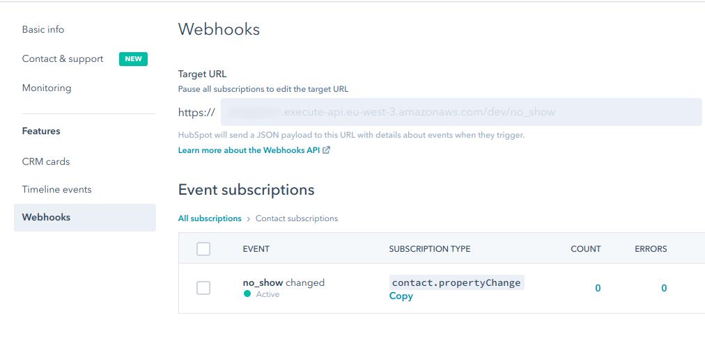 hubspot webhooks event subscription