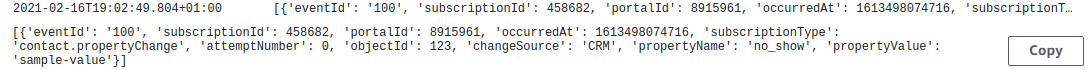 lambda webhook logs