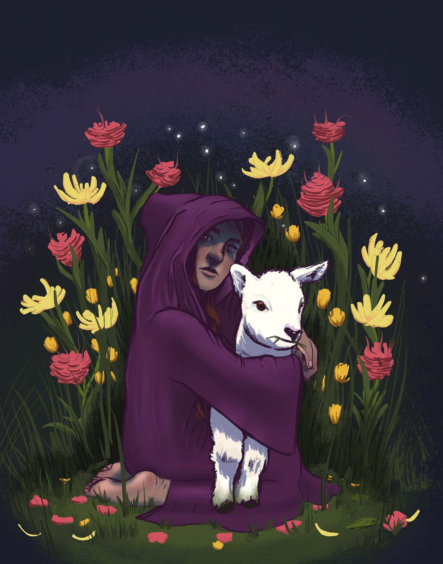 Girl clutches lamb. Lamb eats grass. Digital art that was originally intended to be a loose sketch for a watercolor painting. Got carried away.