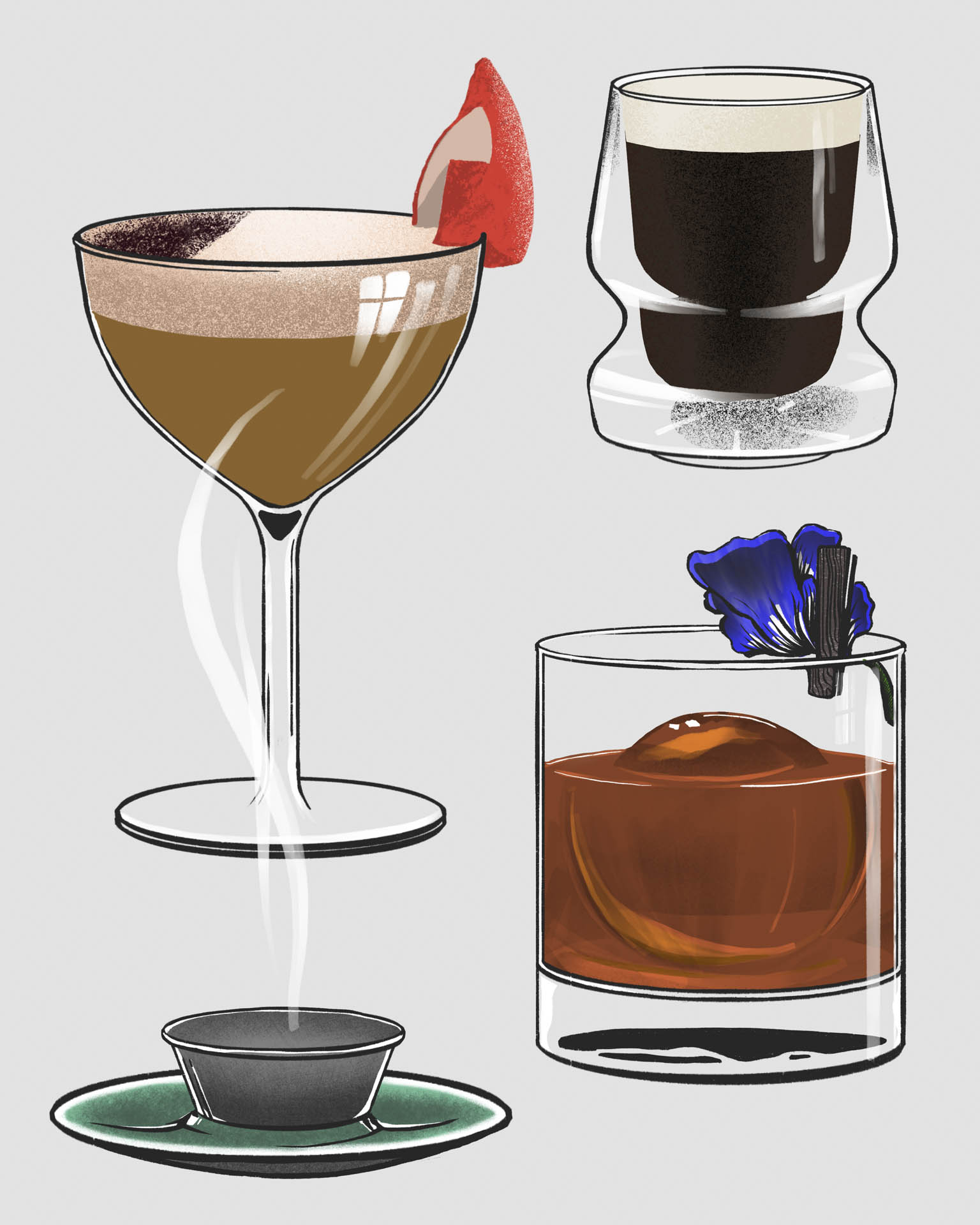 Provision needed some drink illustrations for a set of custom beverages created for a barista competition.