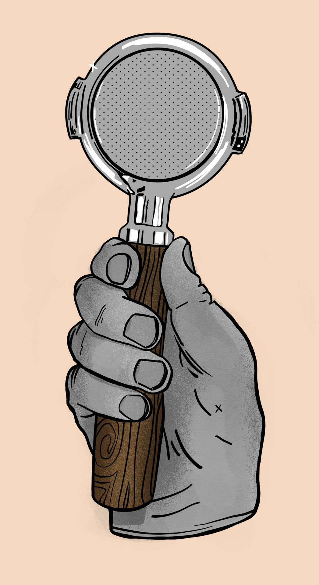 The hand of a barista, holding a portafilter. Illustration from one side of Provision's retail packaging.