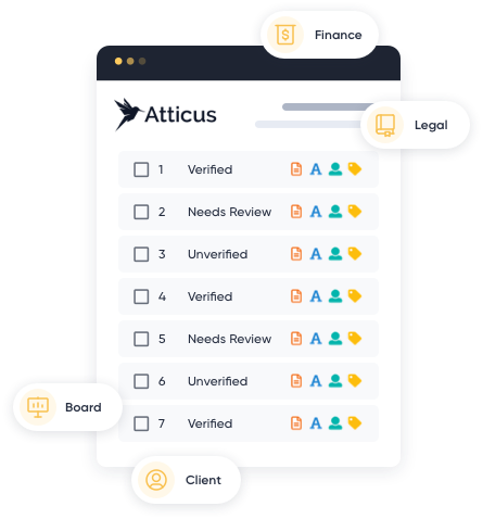 A graphic showing how document verification software operates on Atticus's legal tech platform