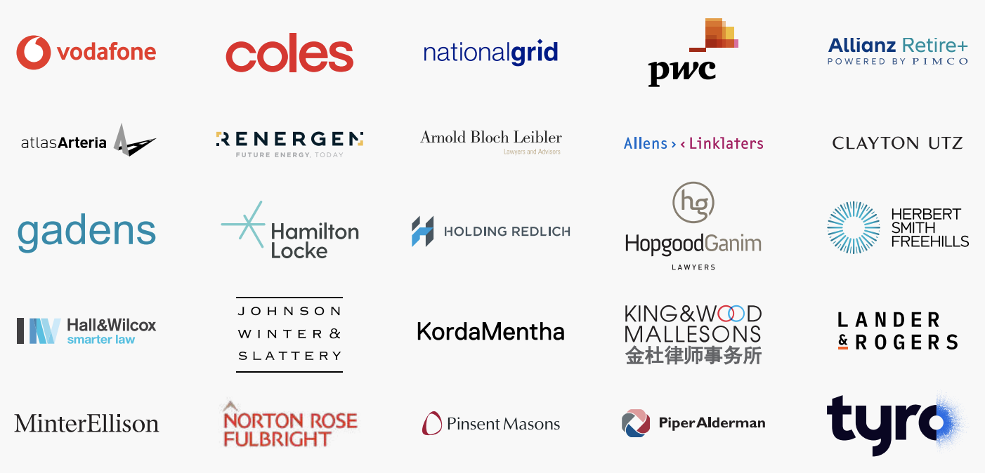 A wall of client logos showing who uses Atticus's legal tech document verification software