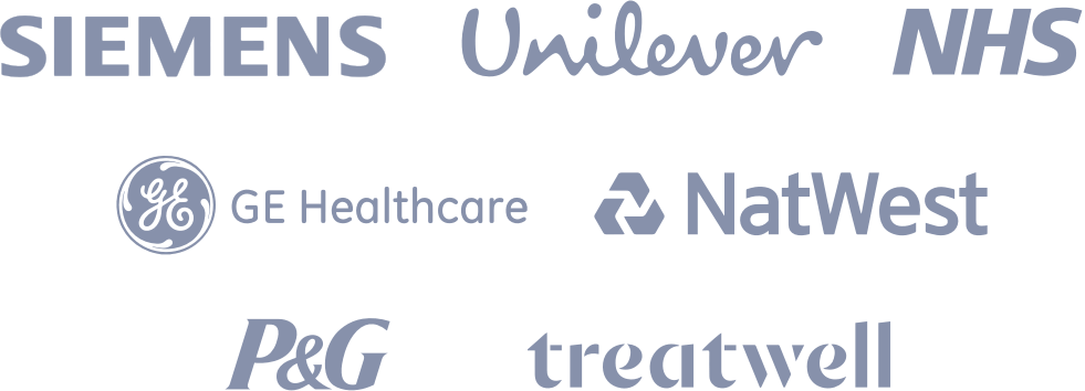 Saberr clients list including Siemens, Unilever, NHS, GE, NatWest, P&G, Treatwell