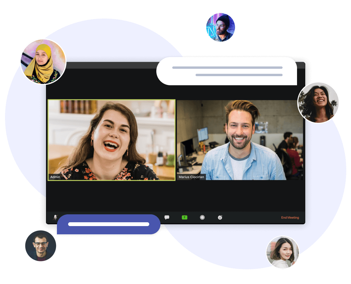 Illustration of connecting Saberr's human coaching programme via video call
