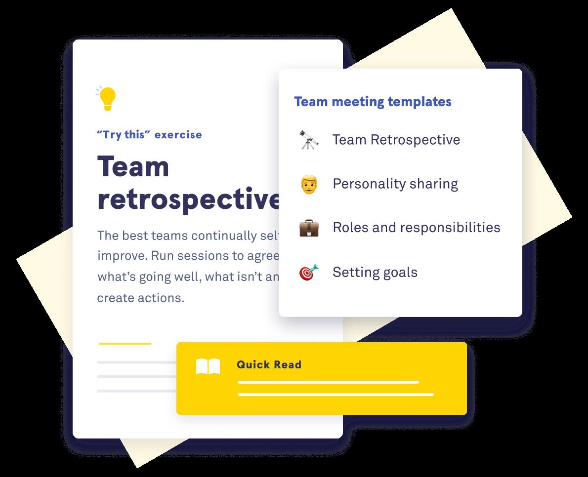 Illustration of Saberr's team retrospectives template