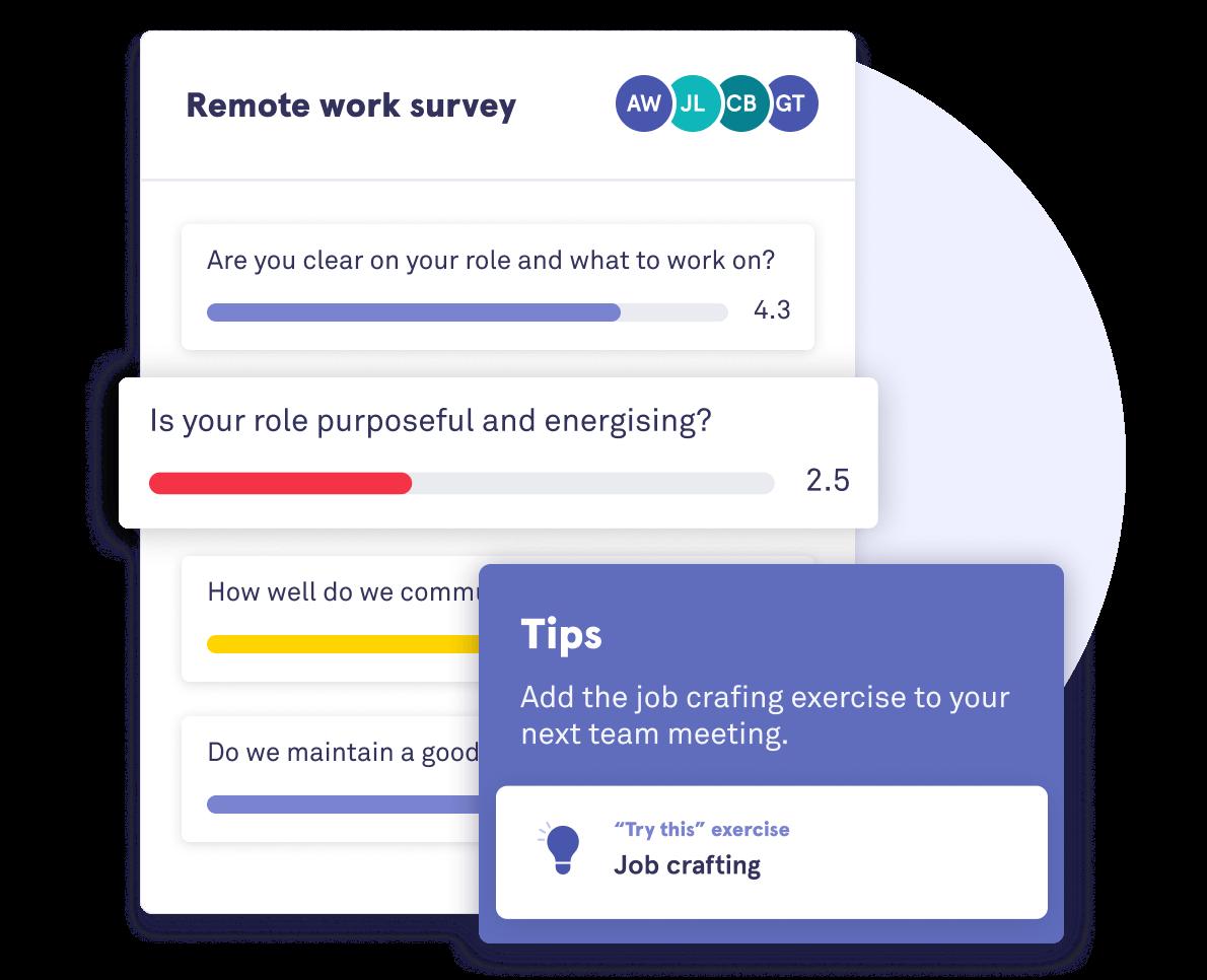 Illustration of Saberr's employee engagement survey on remote work