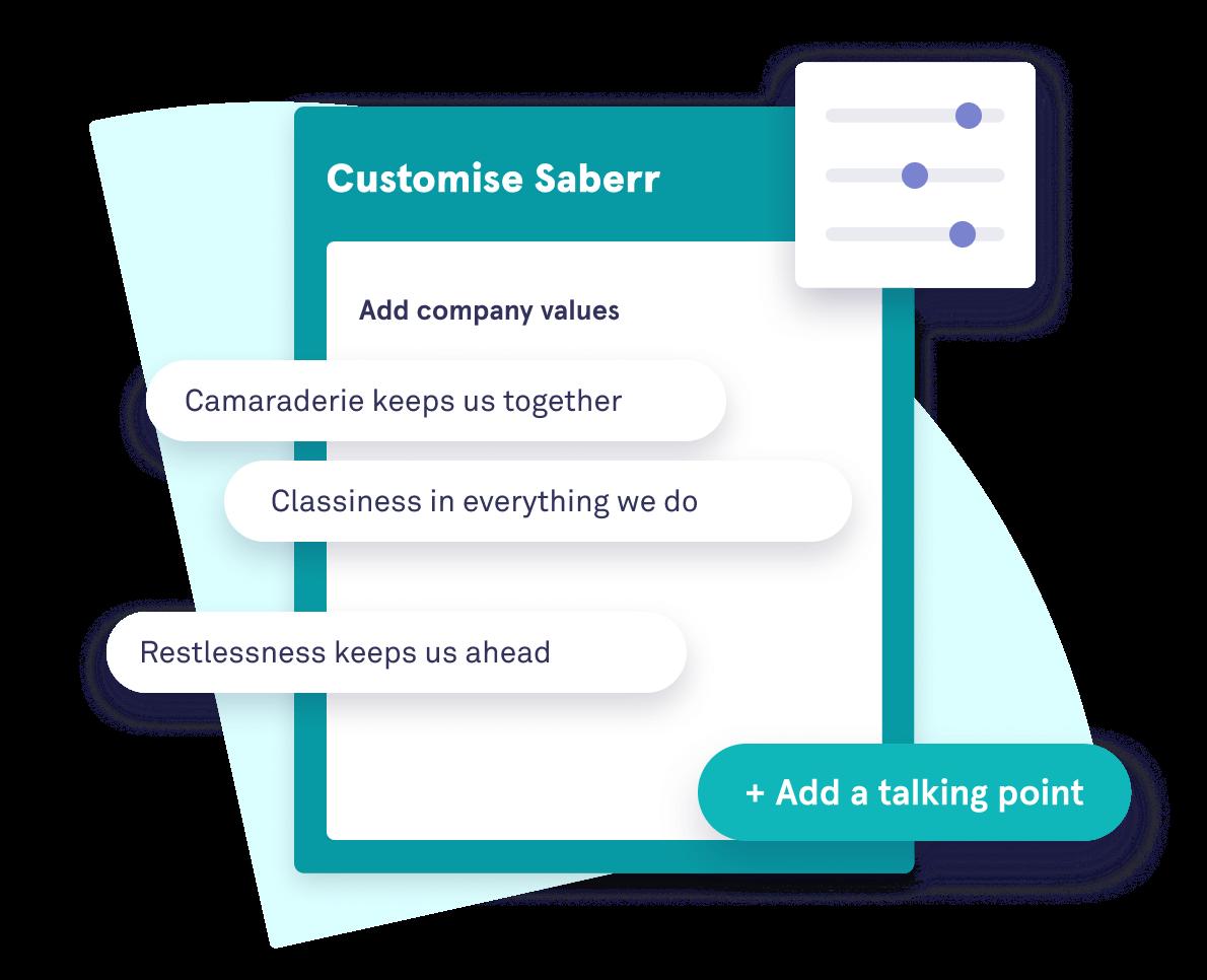 Illustration of customising Saberr's platform by adding company values