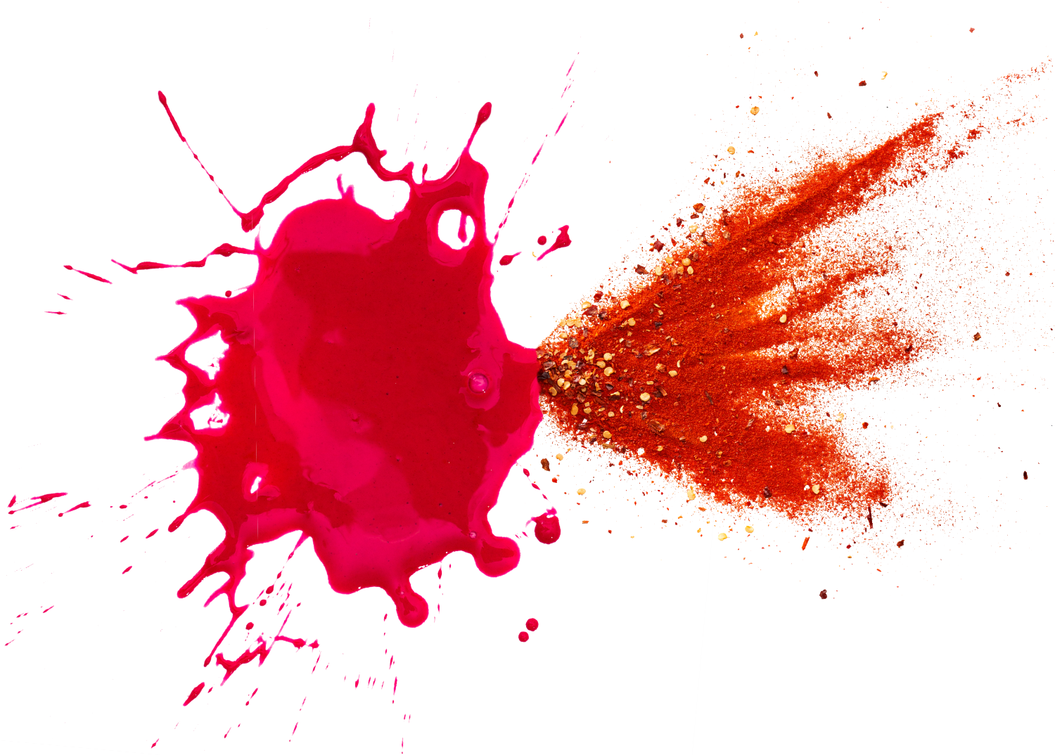 Splash of red and pink paint on the left side and splash of red pepper spice on the right side.