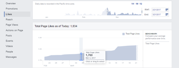 "Taking a look at the ""likes"" tab within Facebook Insights"