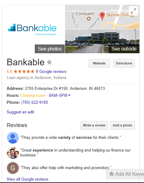 Google my business result for Bankable