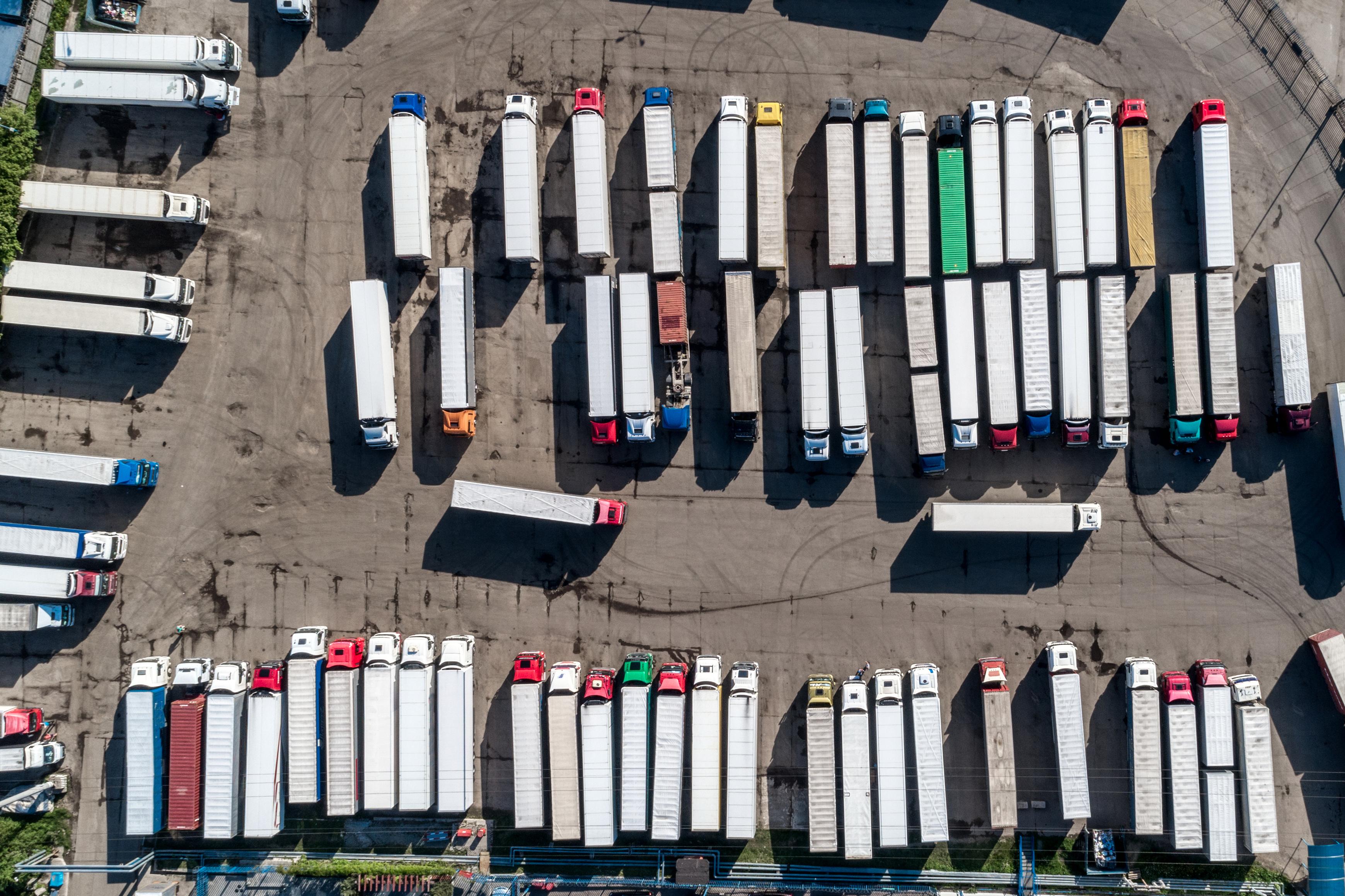 overhead view of semi trailers