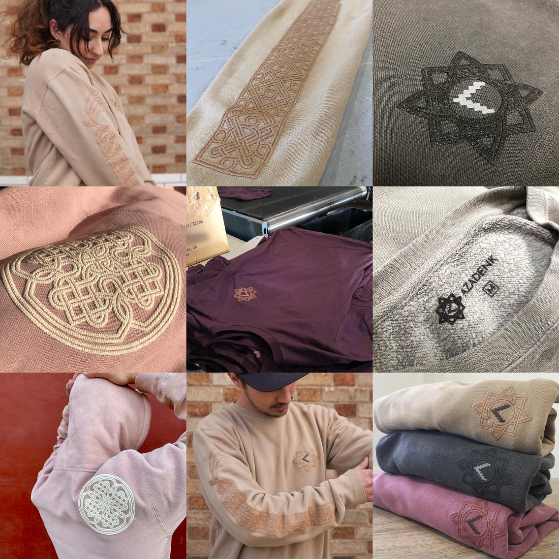Various Khachkar details printed on different clothes