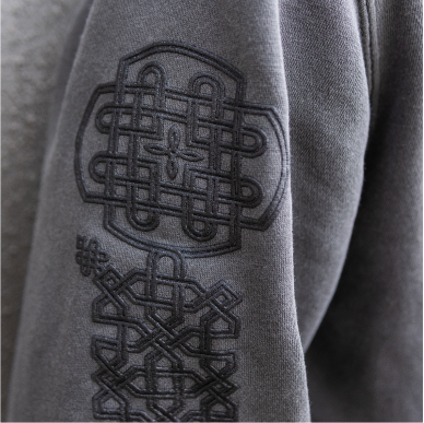 Armenian clothes. Khachkar detail on sleeve of charcoal hoodie