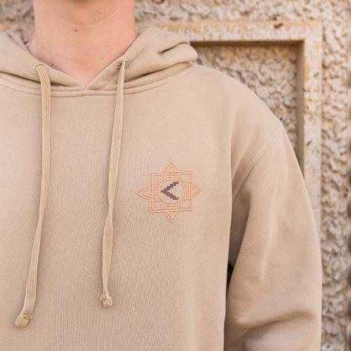 Armenian clothes. Artsakh symbol with Khachkar detail on sand hoodie