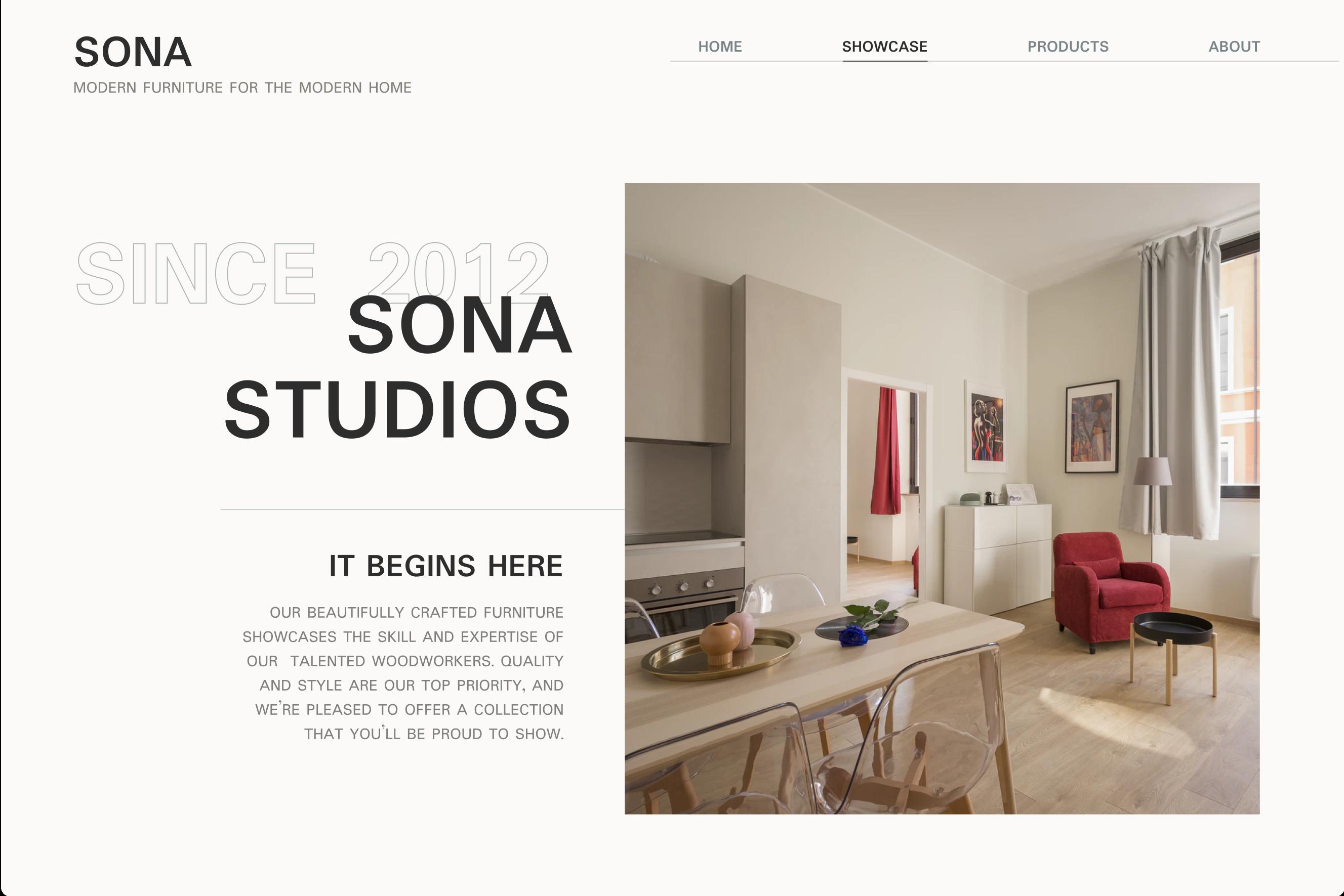 Sona Studios - a modern furniture website