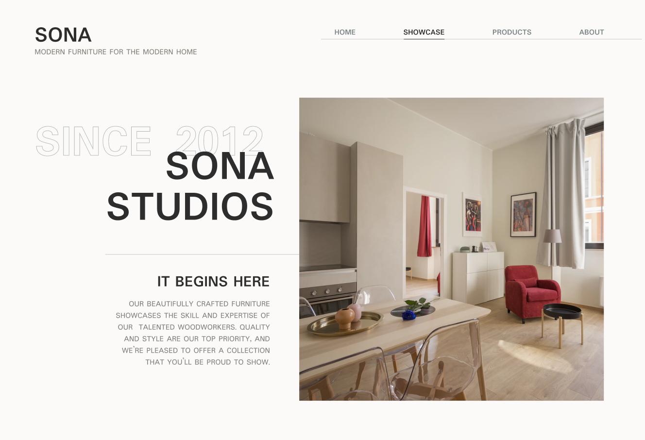 Sona Studios - website design for a modern furniture store