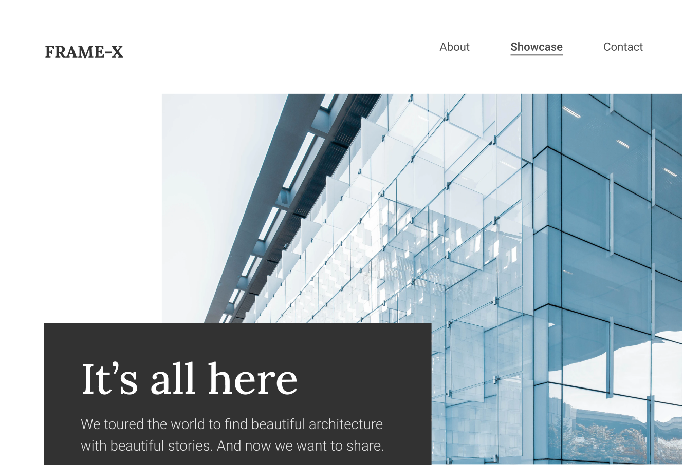 FrameX - a website to showcase the most beautiful buildings in the world