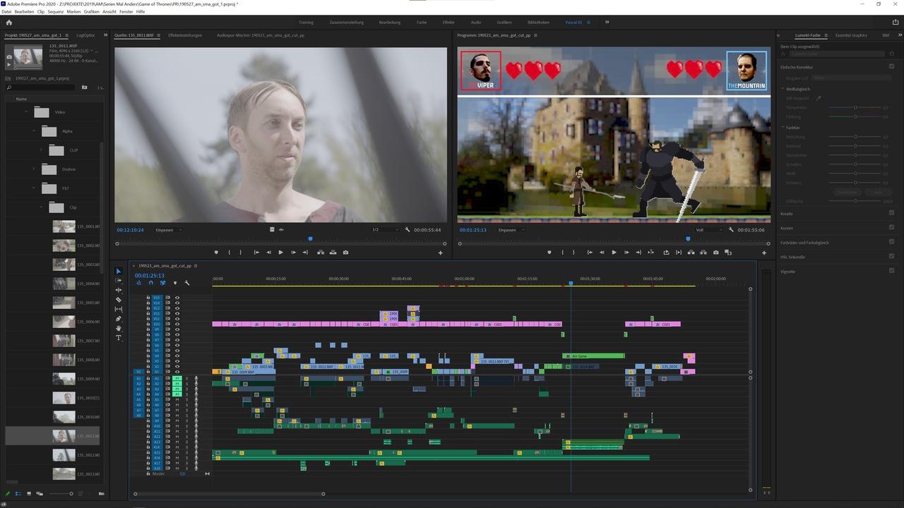 Screenshot aus der Postproduktion mit Adobe Premiere