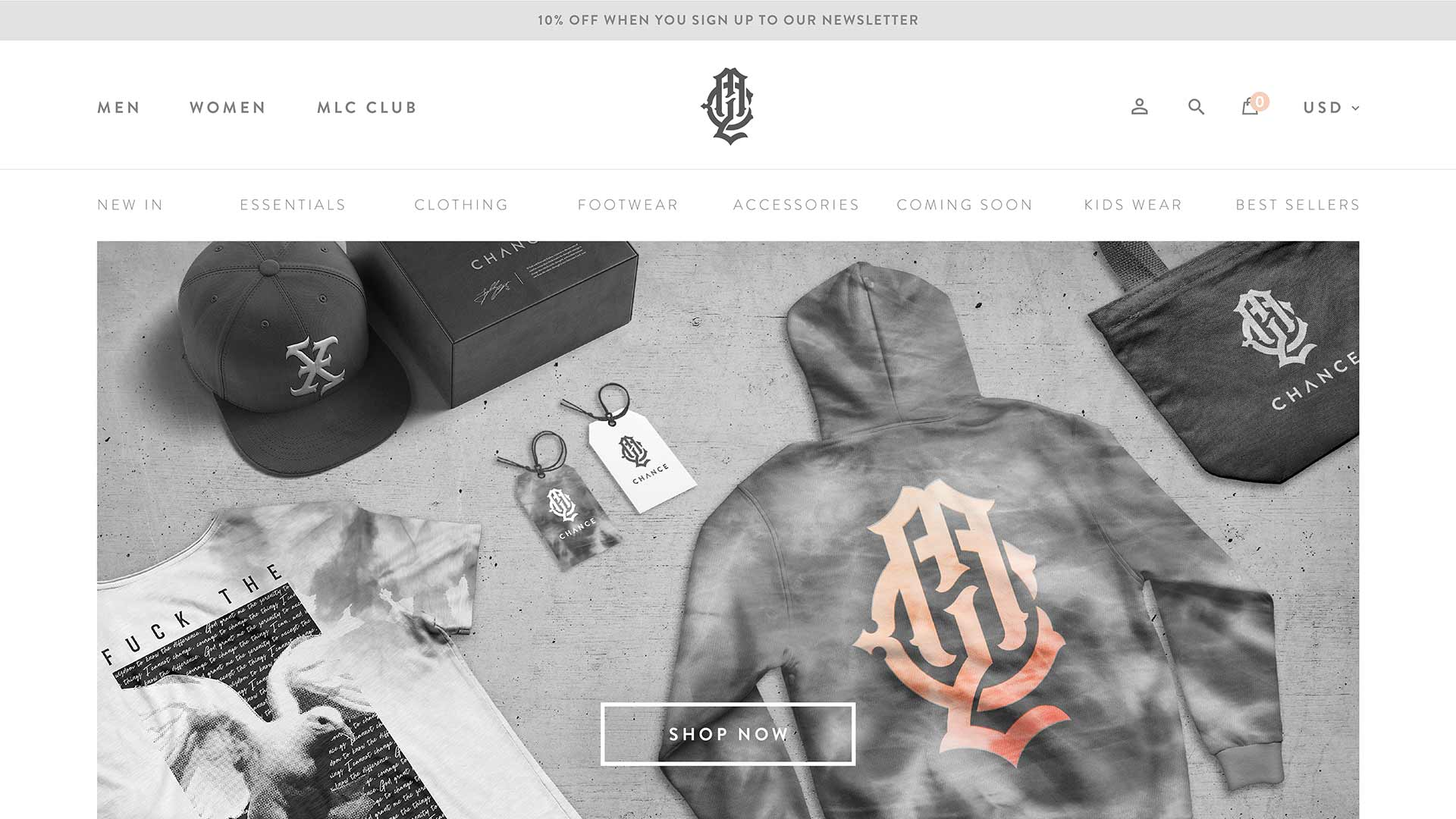 Clothing company website homepage