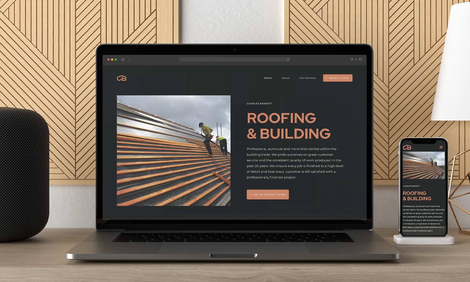 Construction website homepage