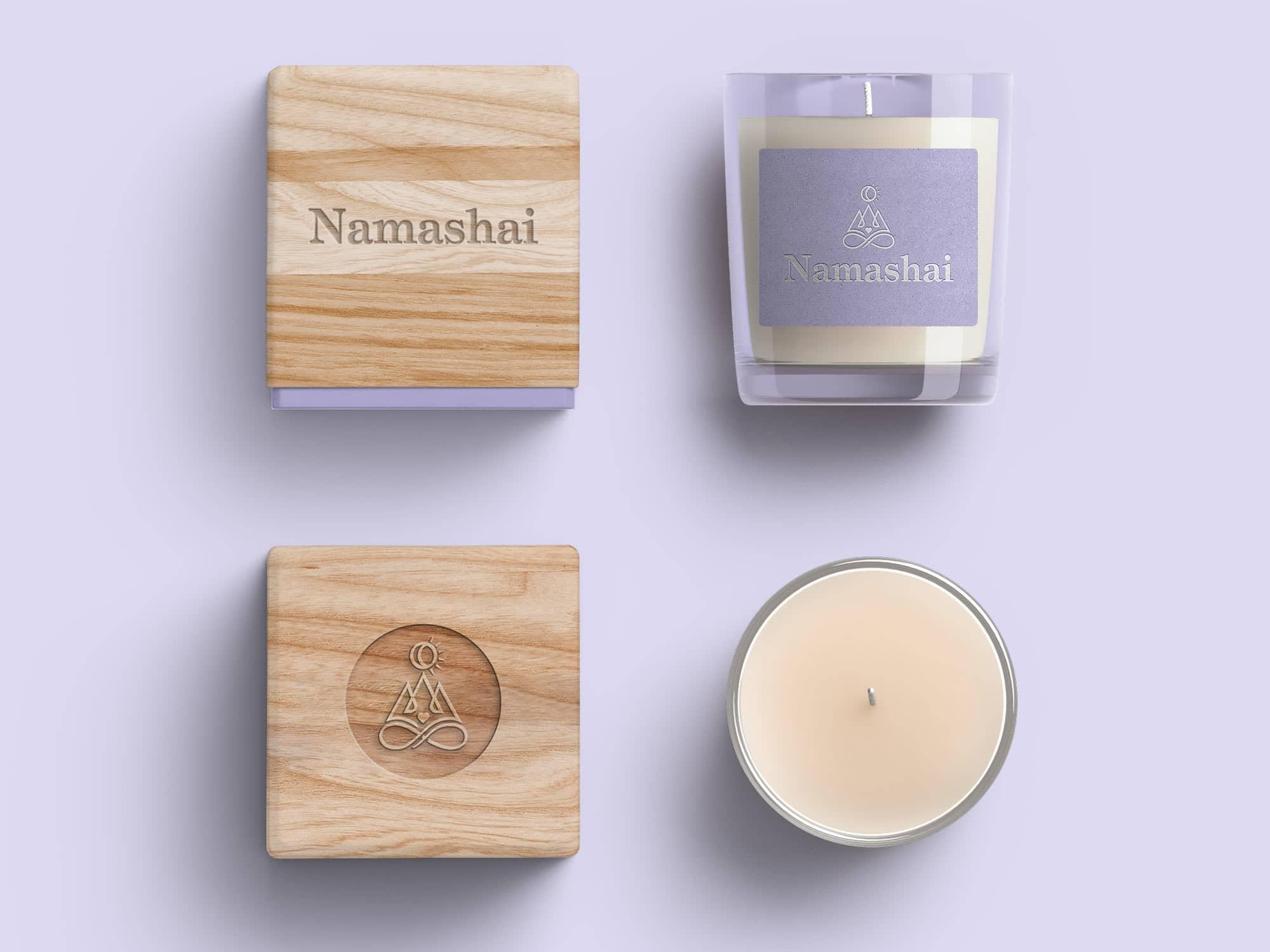 Yoga Studio Branding: Yoga branded wooden candle