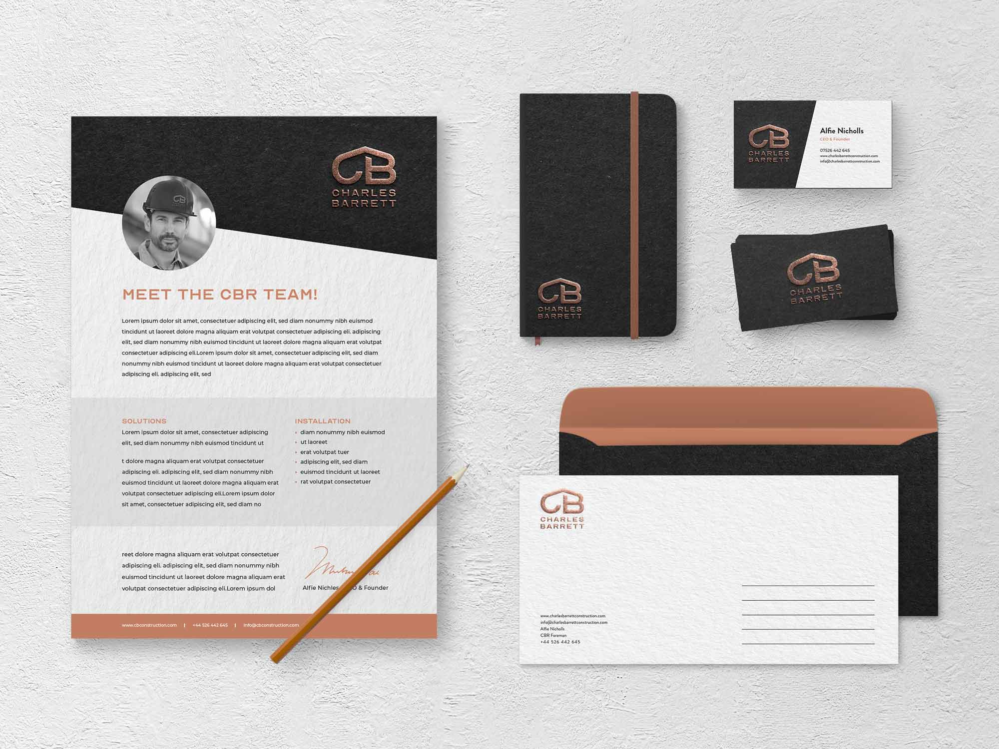 Construction company branding - Letter, business card and leaflet