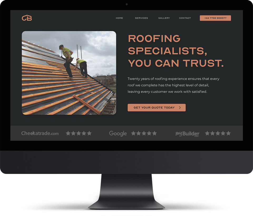 Construction company website homepage
