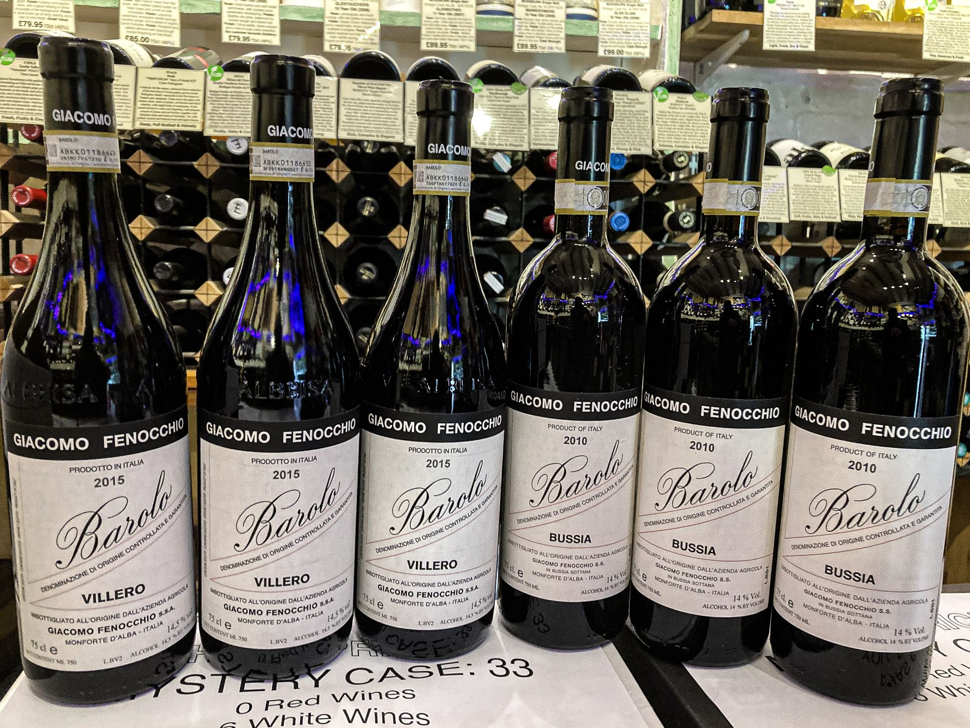 Barolo Villero and Bussia red wine bottles