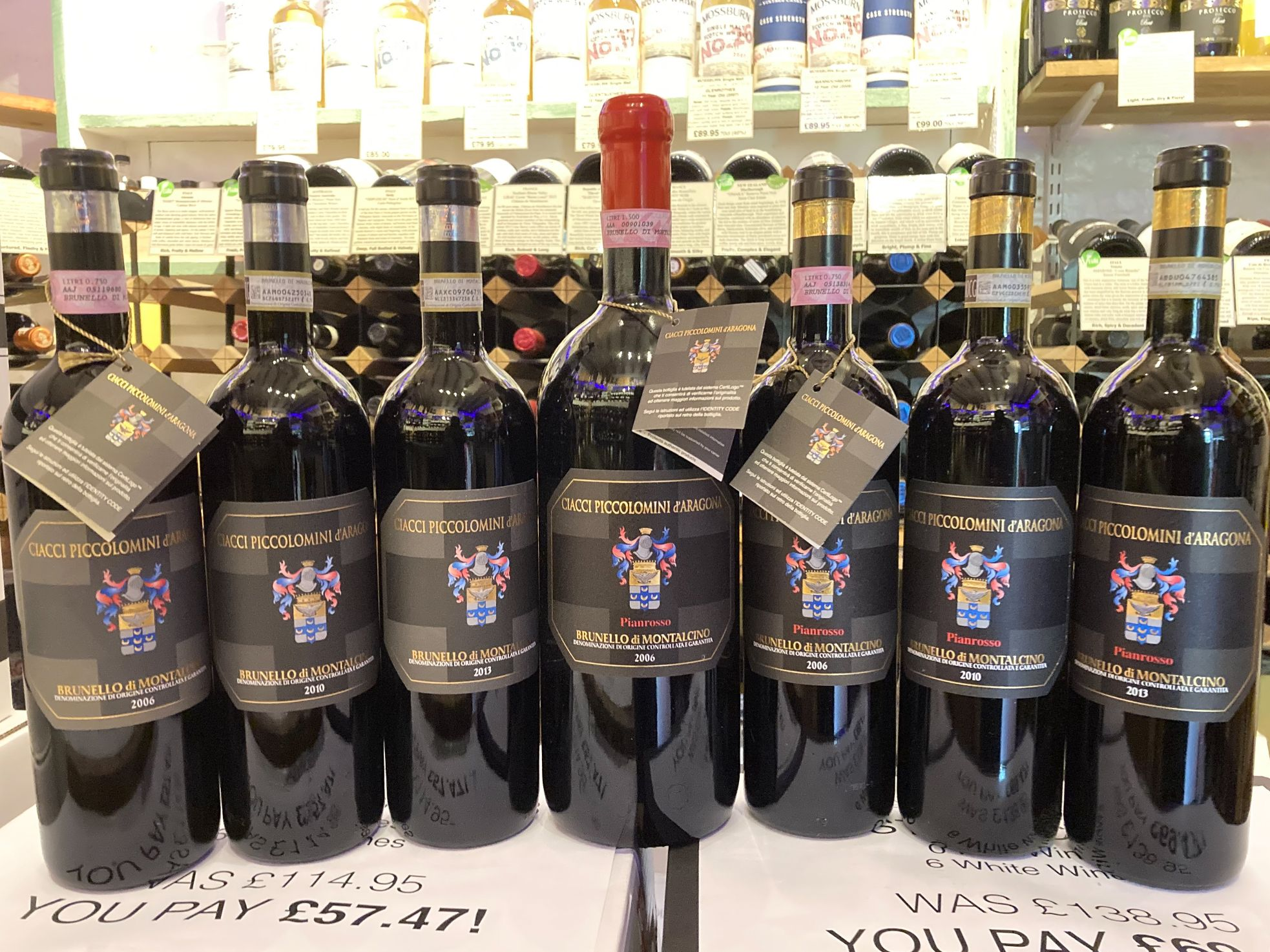 Brunello Ciacci red wine bottles