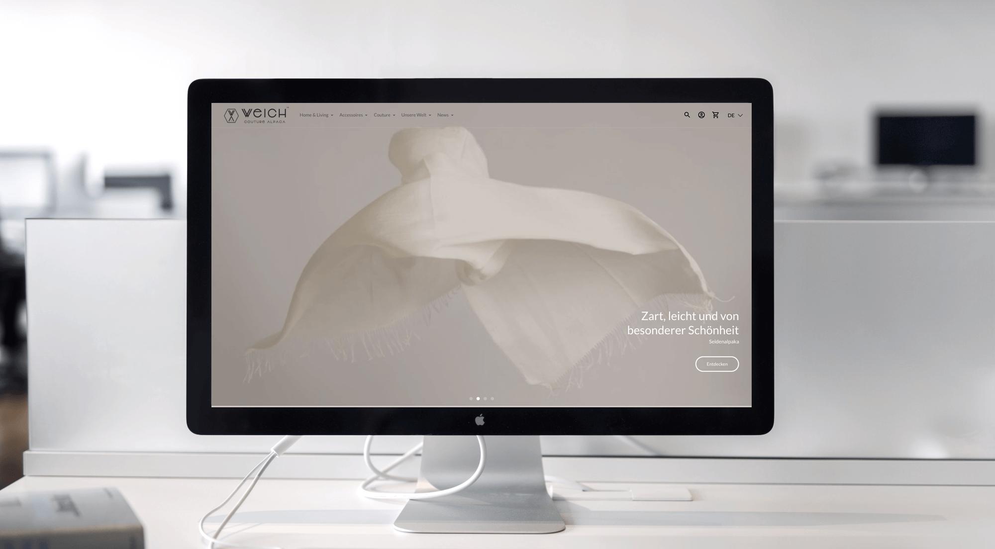 Laptop mit Weich Alpaca Shopify Shop in einem Slider Kundenprojekte
