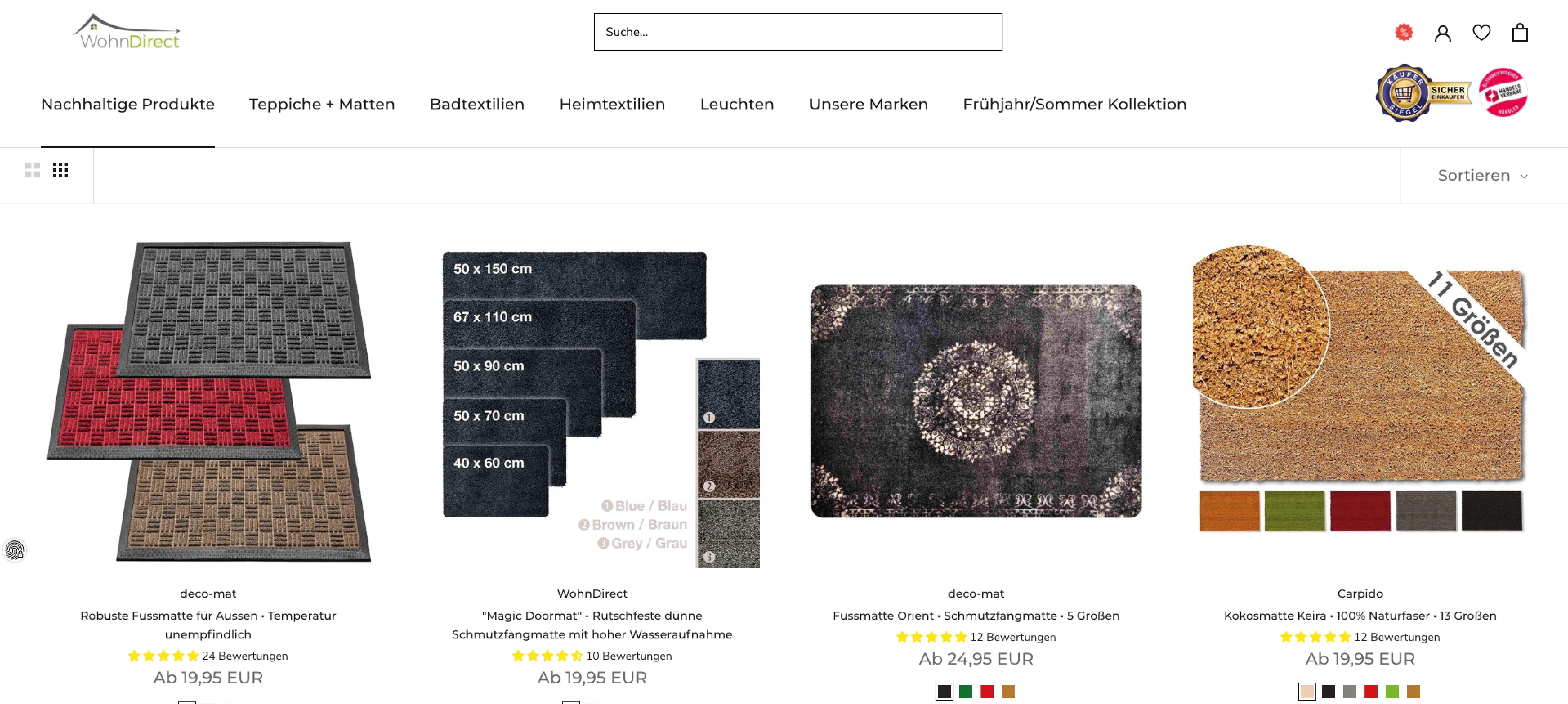 Neue Wohndirect Produkte im Shopify Design