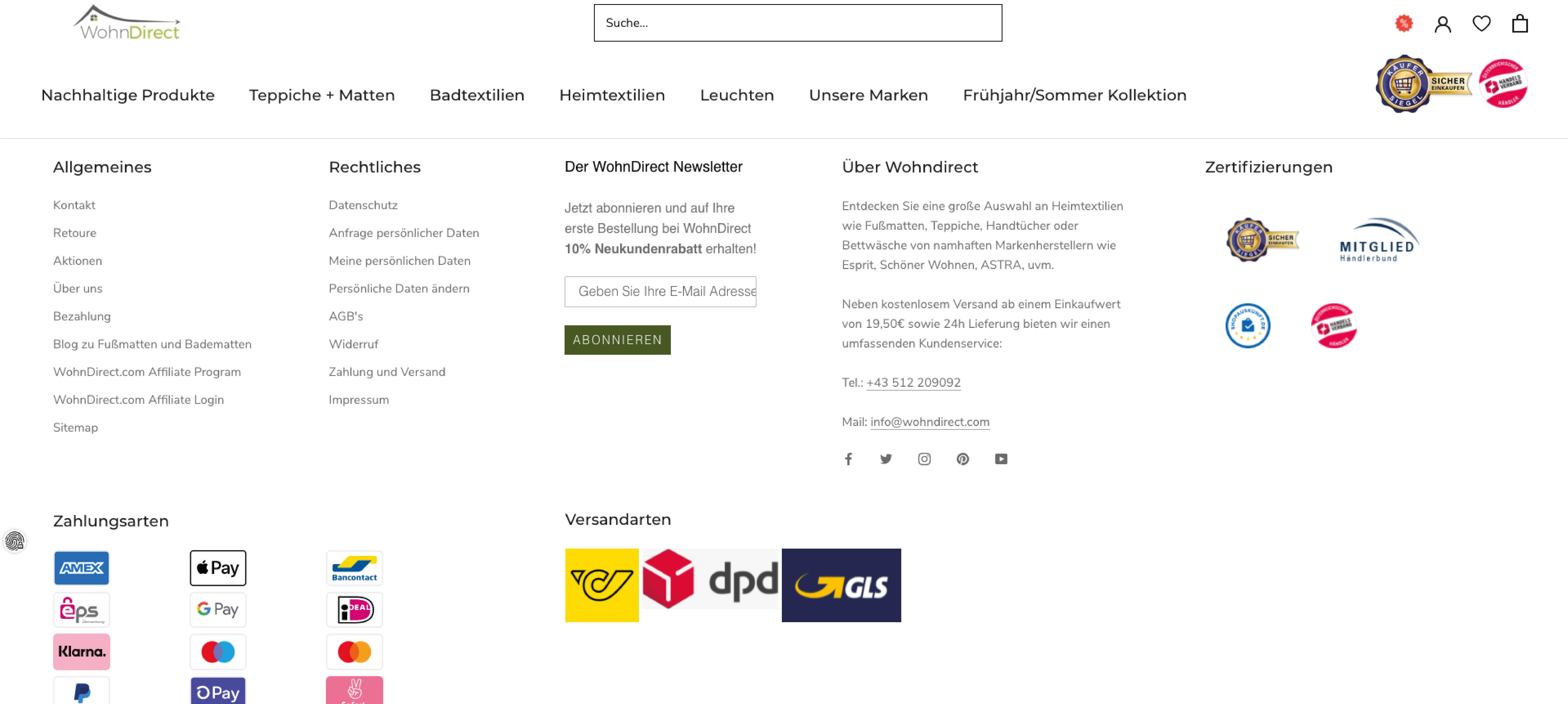 Neuer Wohndirect Footer im Shopify Design