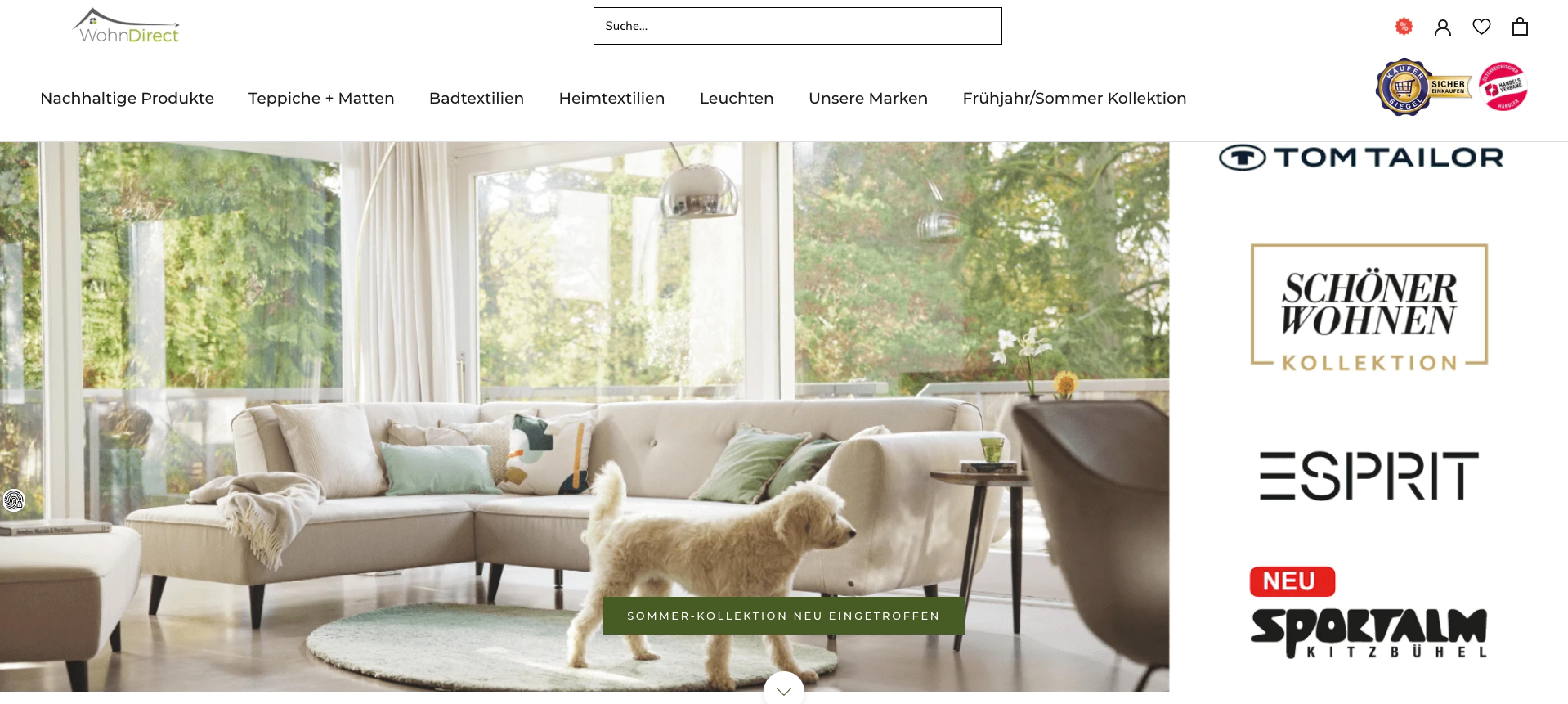 Neuer Wohndirect Header im Shopify Design