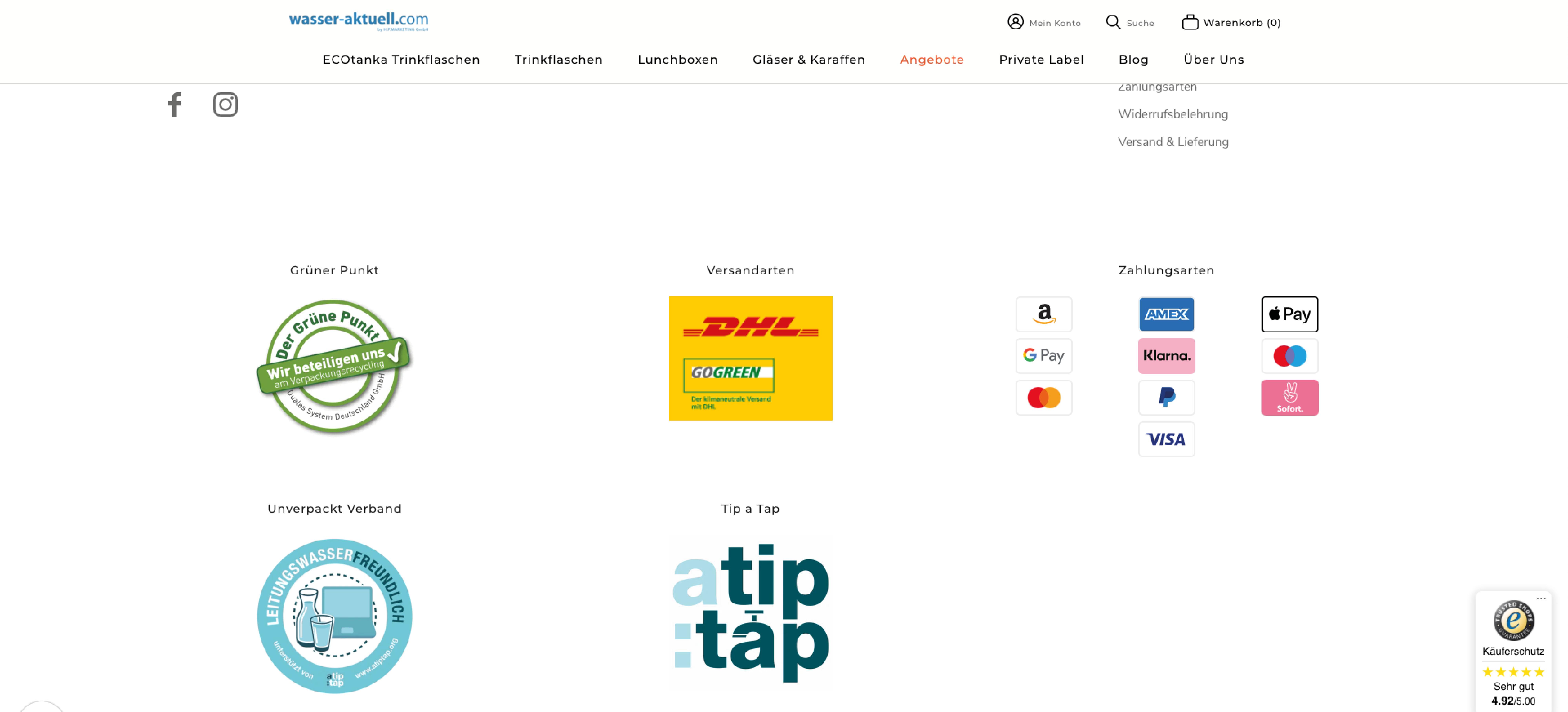 Wasser Aktuell Shop Footer im neuen Shopify Design