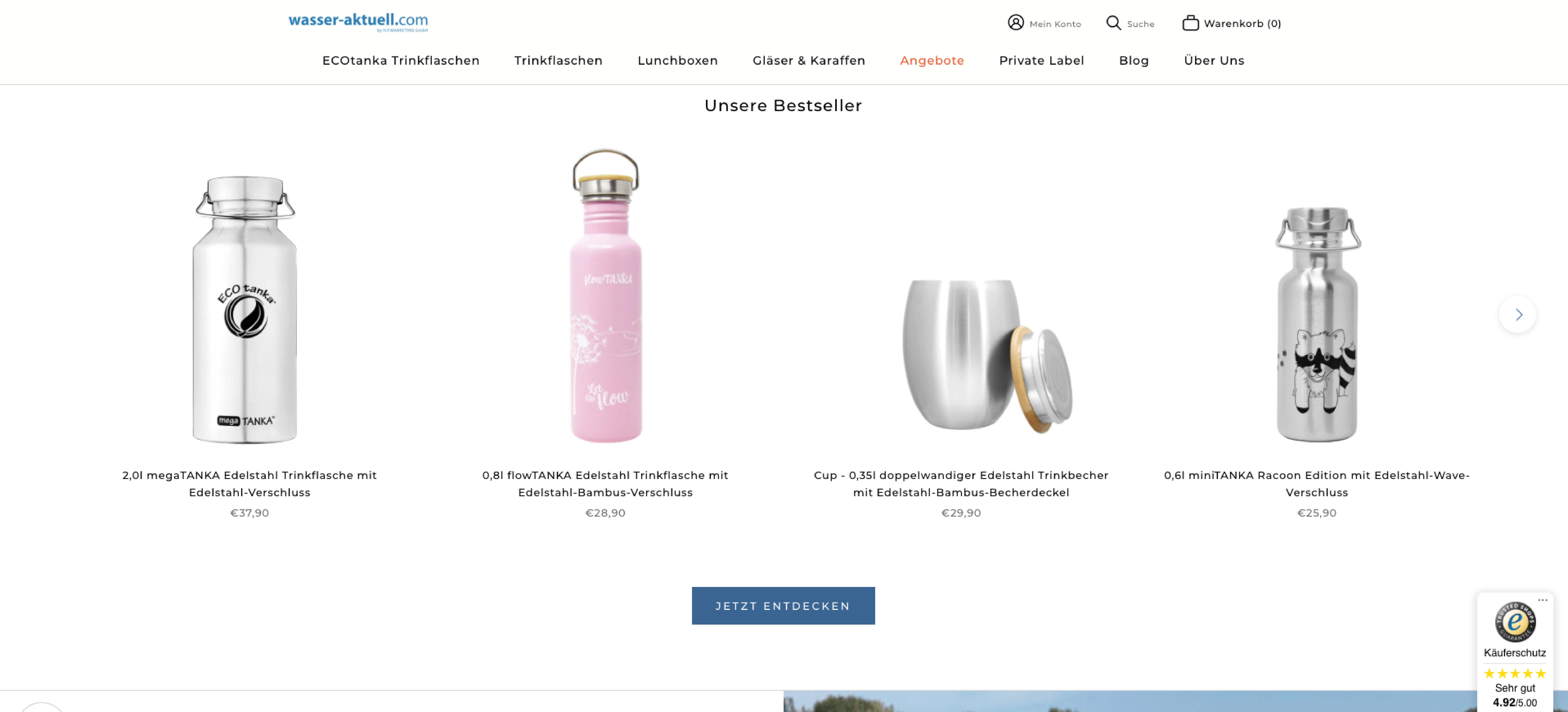 Wasser Aktuell Shop Produkte im neuen Shopify Design