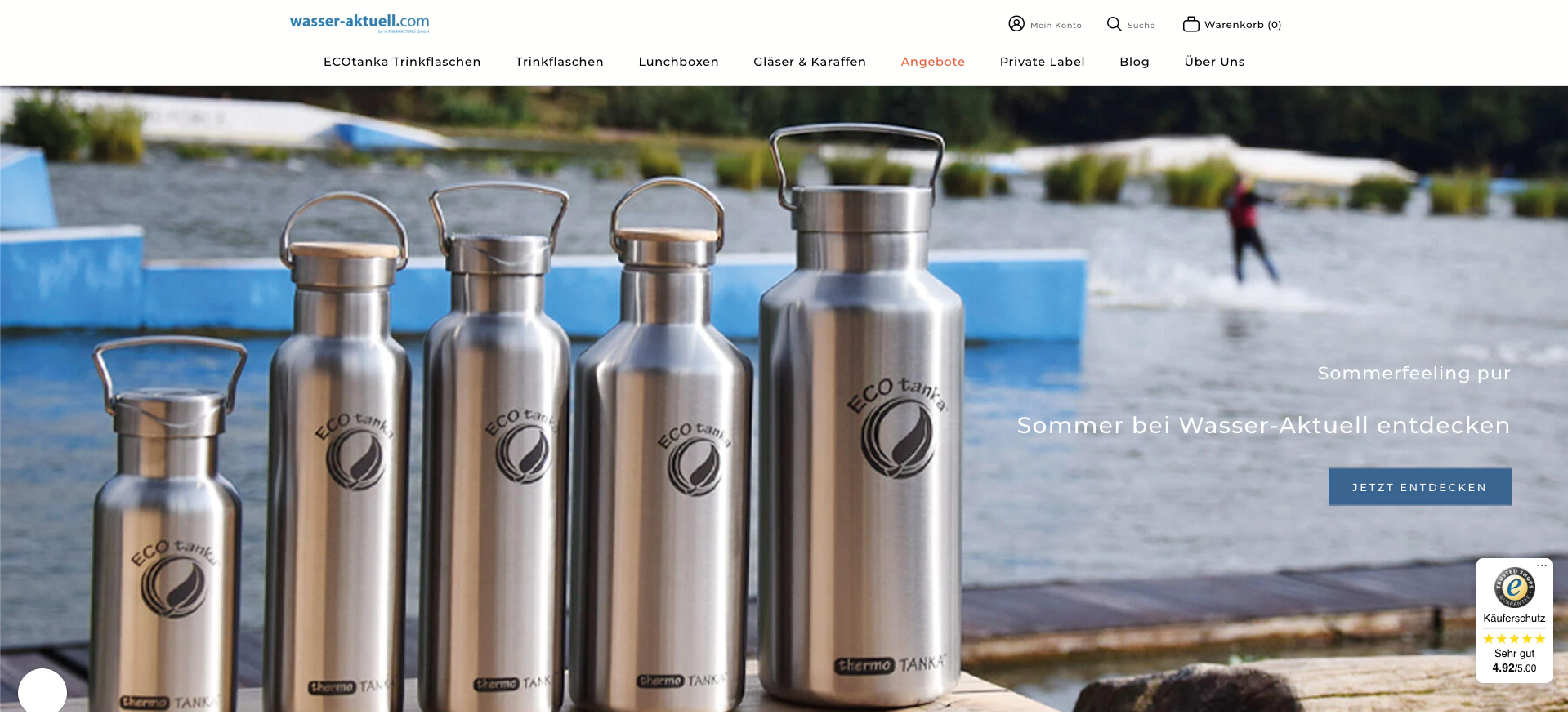 Wasser Aktuell Shop Header im neuen Shopify Design