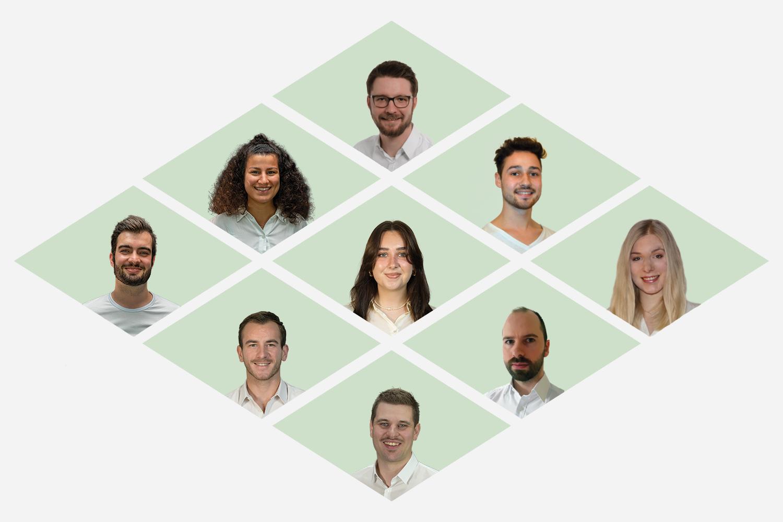 Rianthis Team Desktop Ansicht auf grünem Hintergrund