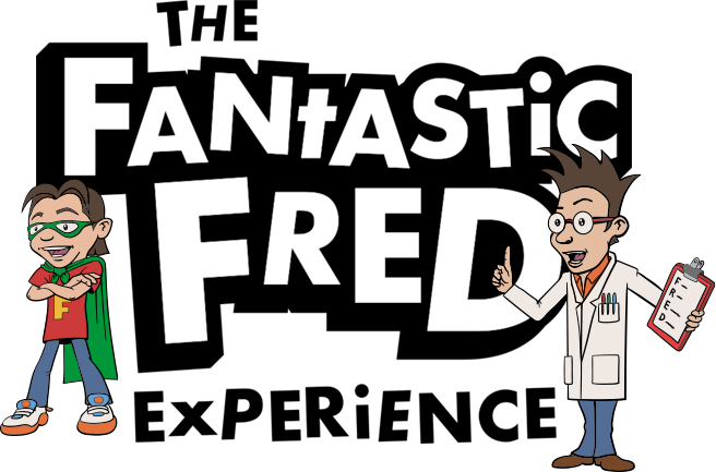 The Fantastic FRED Experience Logo with Fred and the Professor cartoon characters