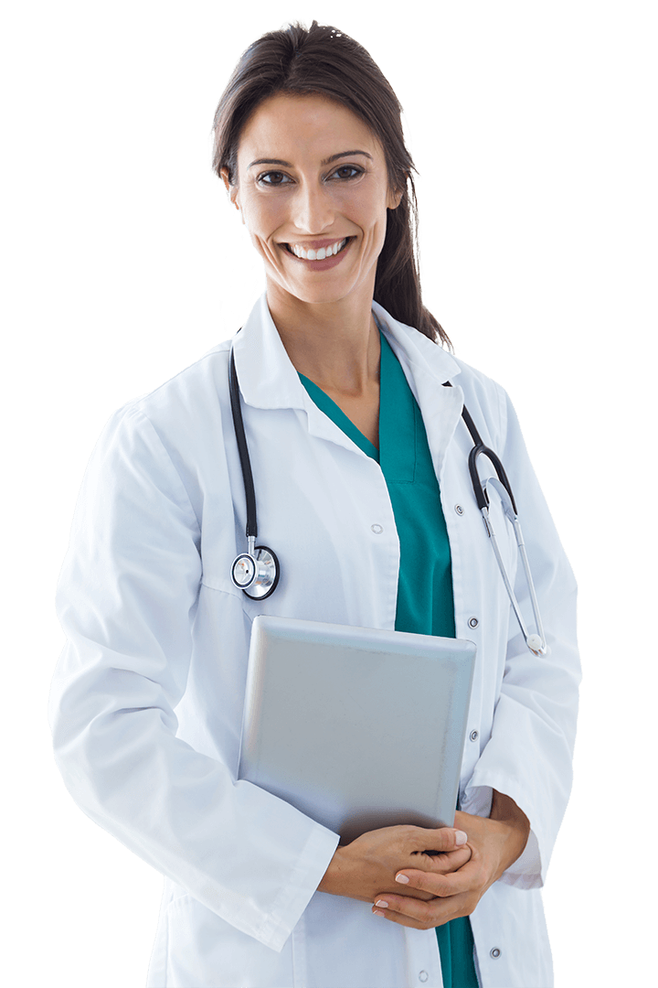 young medical professional wearing a lab coat and stethoscope