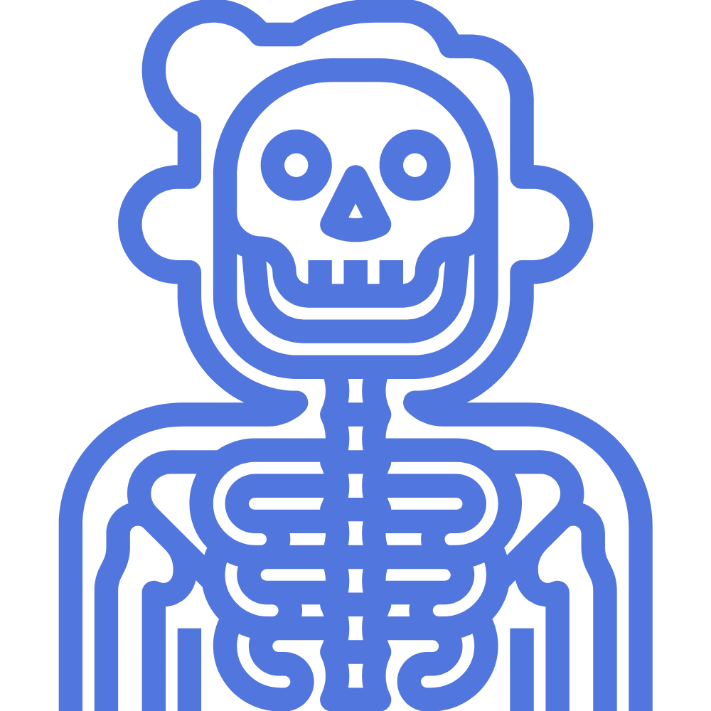 man with a visible x-ray skeleton symbolizing in-home diagnostics like portable x-rays, ultrasounds, and EKGs