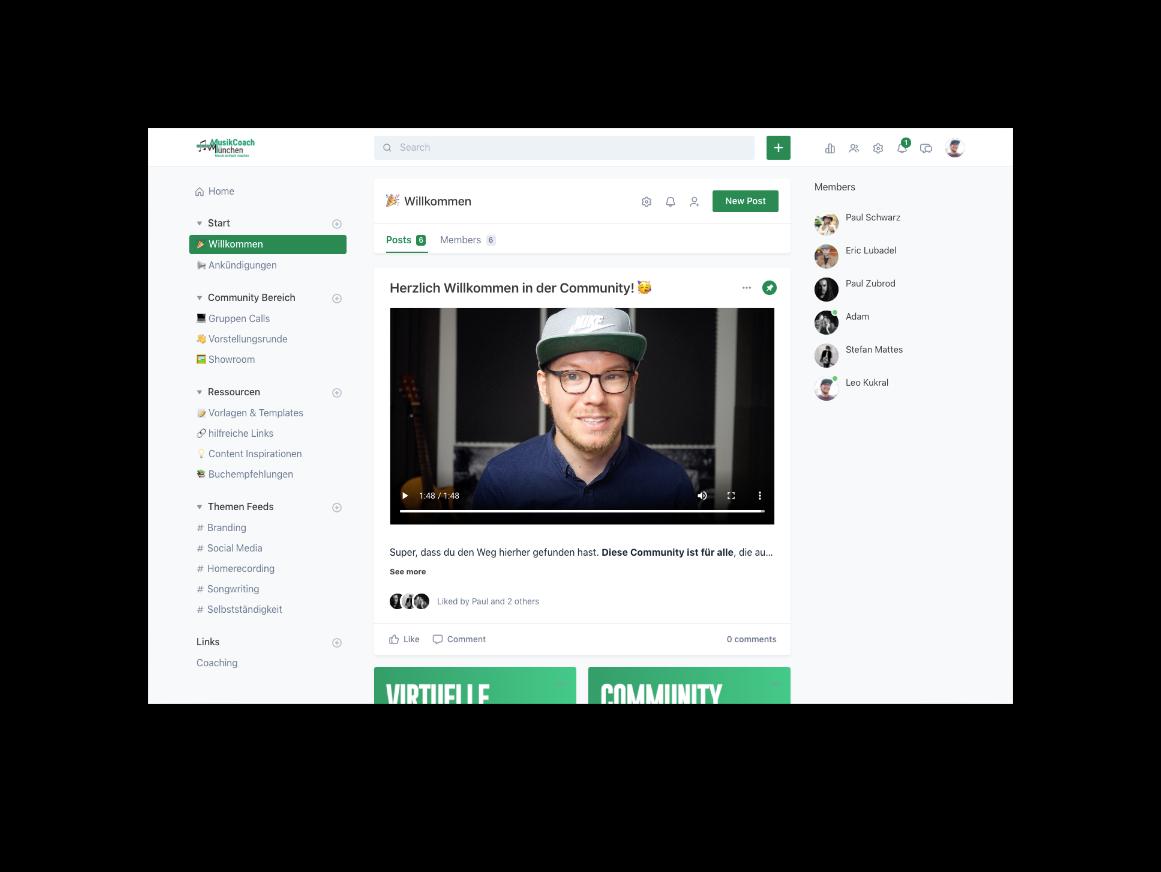 Musikcoach Community Willkommens Screen