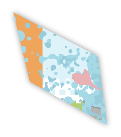 A second part of a cube showing animated video.