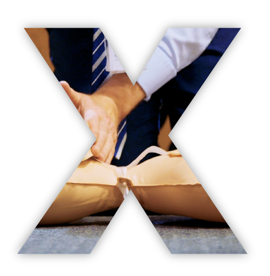 An X cutout image of someone practicing CPR.