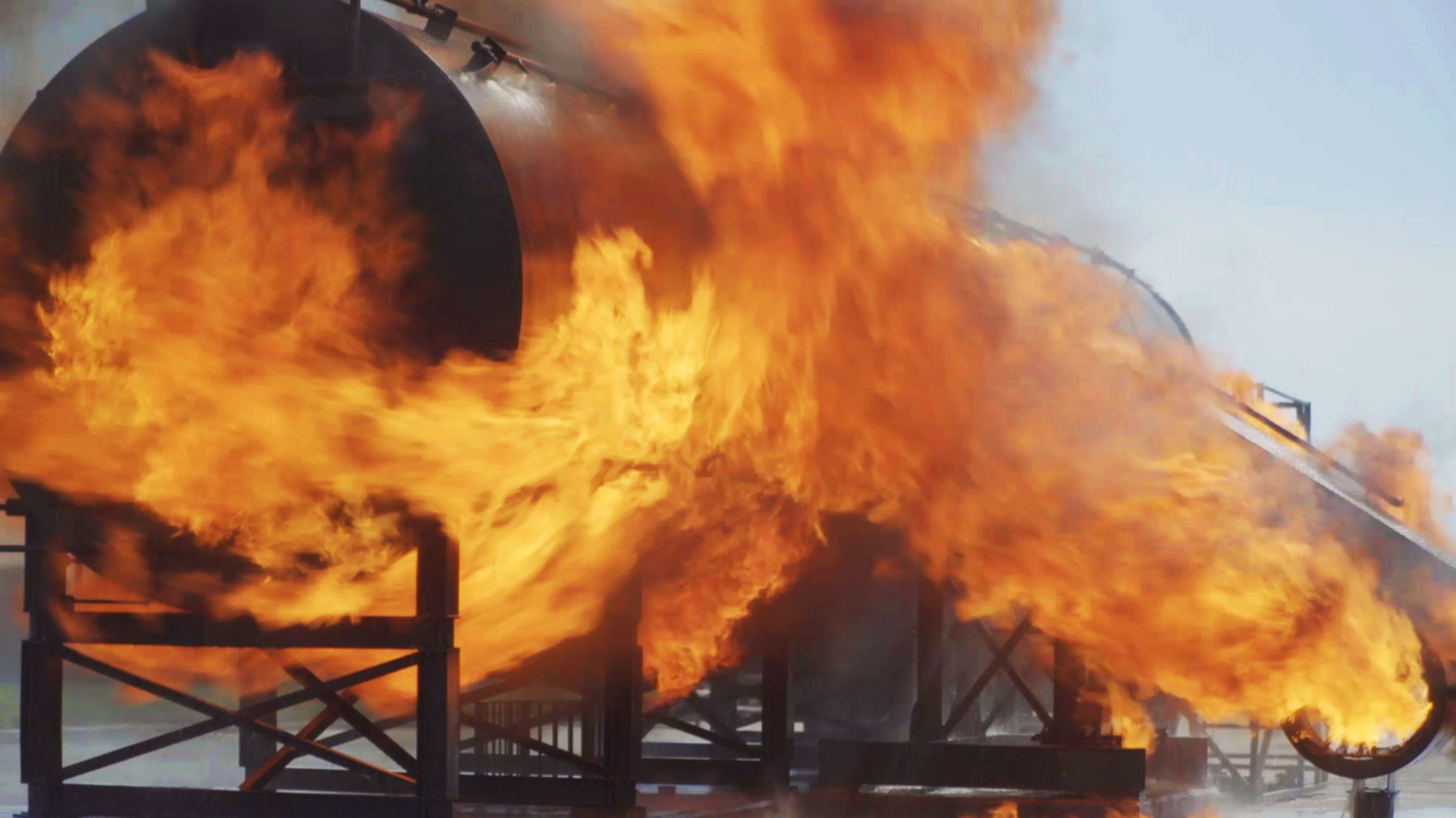 A dramatic fire simulation at BAE Systems fire training centre