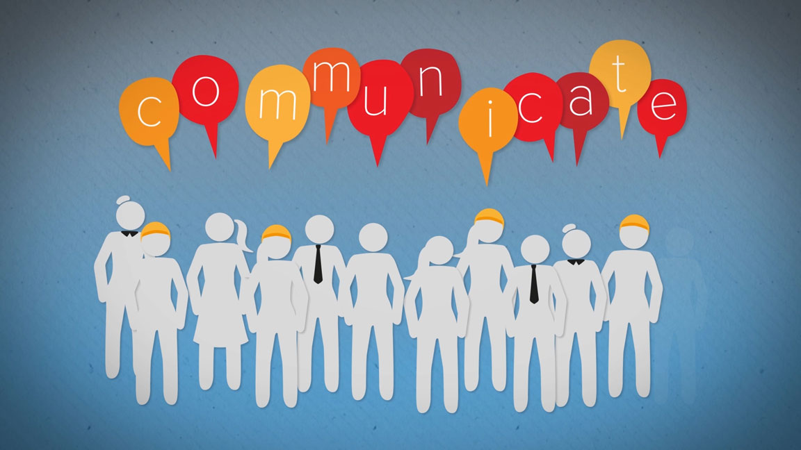 An animated group of people with communicate written above.