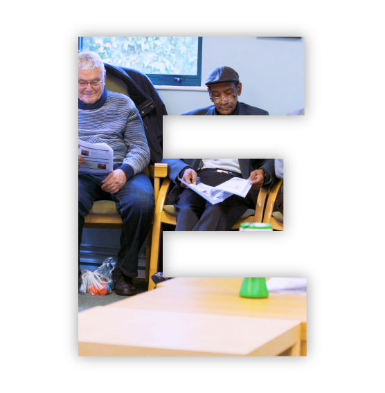 A cutout E image of a Being There meeting.